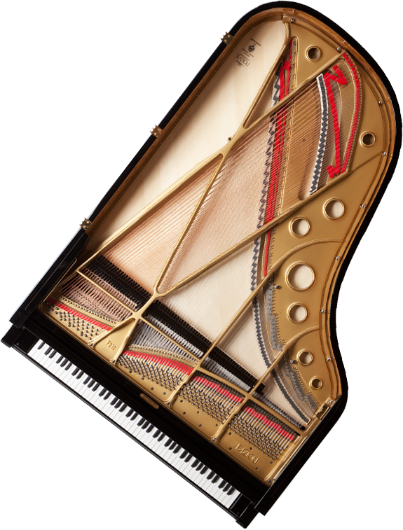A view of the top and inside of a Fazioli grand piano for sale at Eugene Piano Company